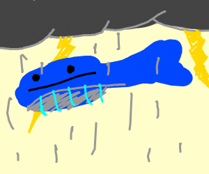 Blue Whale in a Thunderstorm