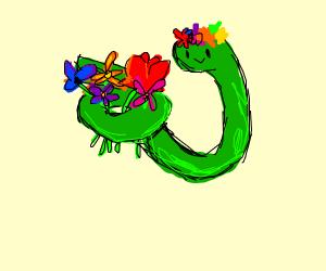 snake holding flowers