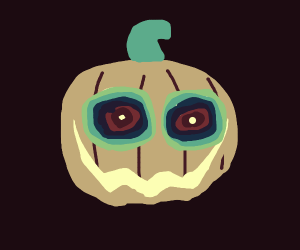 A lifeless pumpkin looking into your soul