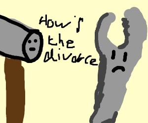 Hammer checks on wrench's divorce