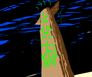 Neon green totem pole