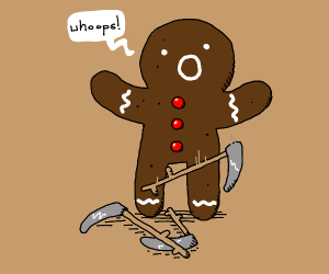Gingerbread man drops scythes