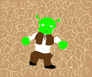 Shrek lying in some onions