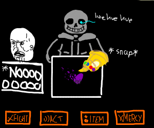 Sans gives Thanos a bad time