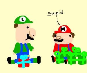 Luigi gets fewer gifts than STUPID bro Mario