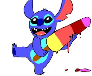 Stitch enjoying a delicious popsicle