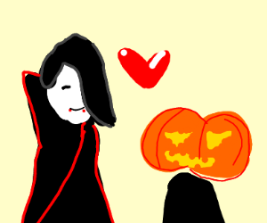 vampire woman and pumpking man are in love