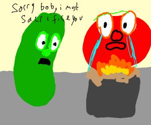 Larry the cucumber sacrifices Bob