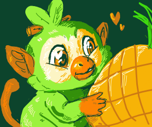 Grookey with a pineapple