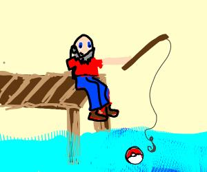 bald guy with beard fishing for pokeball
