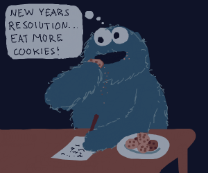 cookie monster writing new years resolution