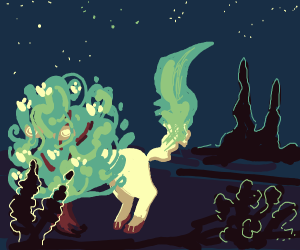 Leafeon going into a bush
