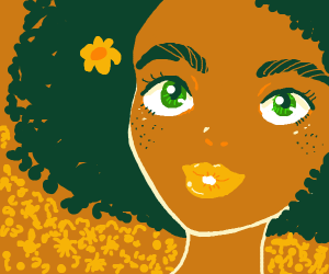 A girl with yellow flowers and freckles