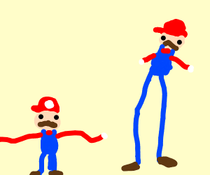 2 Marios, 1 w/ long arms and 1 w/ long legs