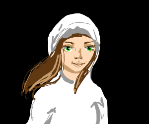 A brown-haired girl in a white hoodie