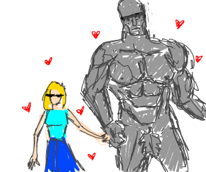 Girl is in Love♡♡ with Buff Man statue