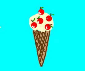 cherry icecream in a cone