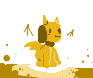 Dog with devil horns