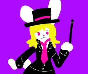 Happy pretty blonde magician