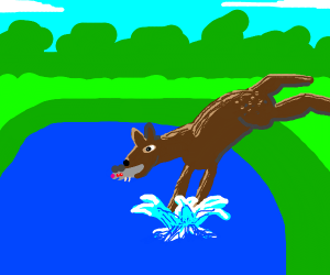Deer Jump in Water With A Mouse In it Mouth