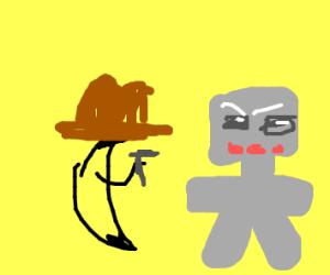 Banana cowboy fights robot