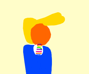 drumpf with rainbow tie