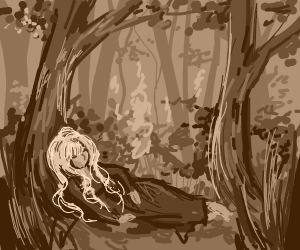 lady sleeps in small forest