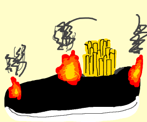 shoe that is on  fire and McDonald's fries