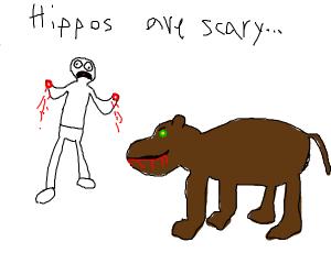 Petting a hippo