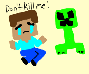 Minecraft steve cries in front of creeper