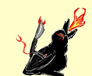 Knife devil rides a demonic bird