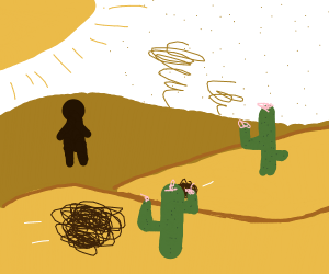 Person Standing In the Desert