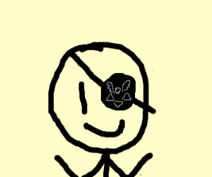A stickman is happy with eye band