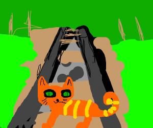 Poorly drawn cat crossing poorly drawn rails.