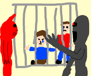 demons trapping humans in a larger cage