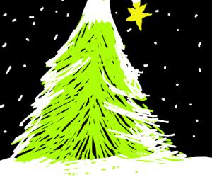 Outdoor snowy Christmas tree