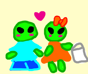 newly-wed aliens go planet shopping