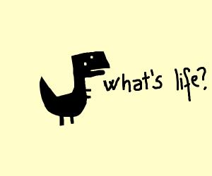 Dinosaur wondering about life