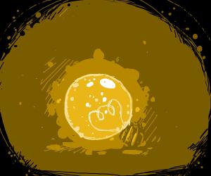 A lone lightbulb dispels the darkness