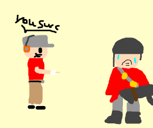 Scout insult soldier than cry(TF2).