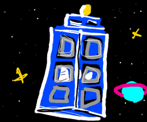 blue phonebooth travelling through space