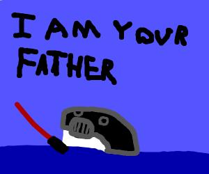Darth Vader as a Whale in the dark sea