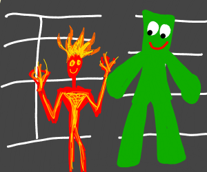 Fire boy and Gumby in a parking lot