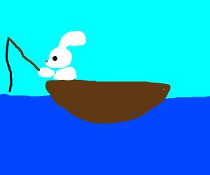 A rabbit fishing