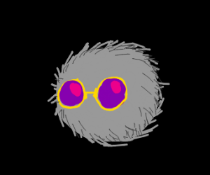 A grey fur ball with sunglasses.