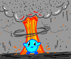 blue kirby in front of explosion