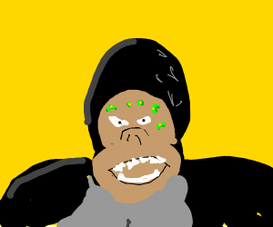 Angry gorilla with green acne