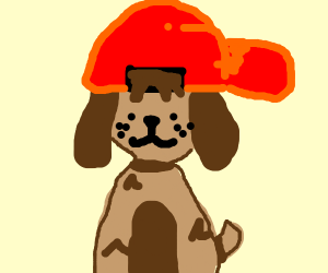 dog with red cap