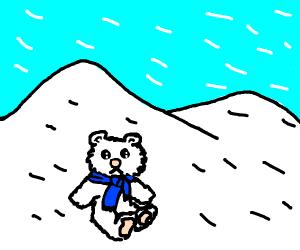Polar teddy bear with blue scarf in blizzard.