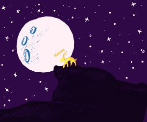 yellow deer is hissing at the moon